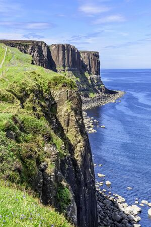 Kilt Rock is a sea cliff in north east Trotternish on the Isle of Skye.. It is said to resemble a kilt, with vertical basalt columns to form the pleats and intruded sills of dolerite forming the pattern.