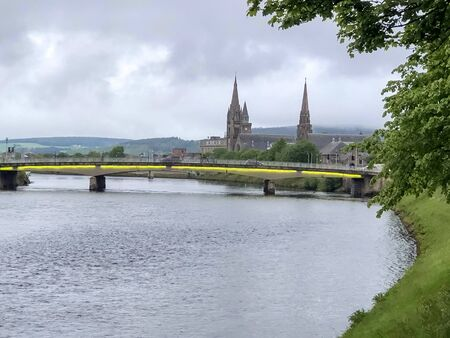 View of the Ness Bridge that crosses over the River Ness in Inverness, Scotland