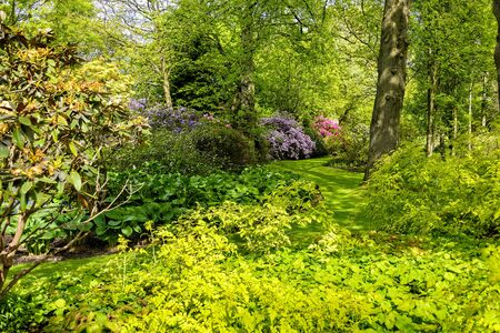 Beautiful colorful garden at the Holyrood Palace, Edinburgh, Scotland Imagens