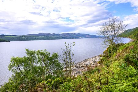 Shoreline of the Loch Ness River in Scotland
