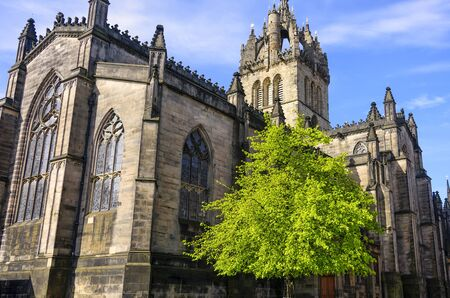 St. Giles Cathedral, with its gothic architecture, is a prominent building on Edinburghs Royal Mile.