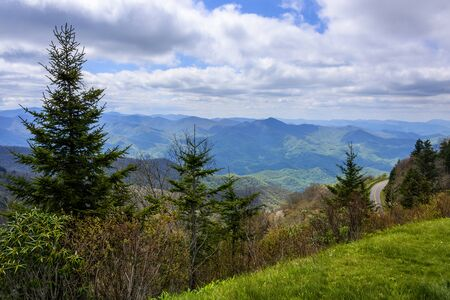 View of the Blue Ridge Mountains along the Blue Ridge Parkway.