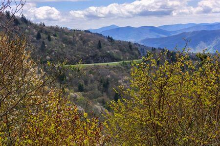 Blue Ridge Parkway winding around the Blue Ridge Mountains, North Carolina