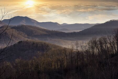Winter morning and sunrise in the mountains of North Carolina