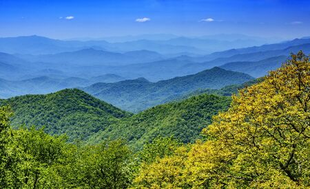 Many mountain ranges of the Blue Ridge Mountains in North Carolina