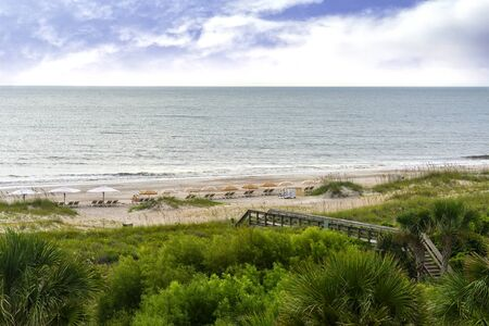 Beach on Amelia Island in Northern Florida along the Atlantic Ocean Imagens