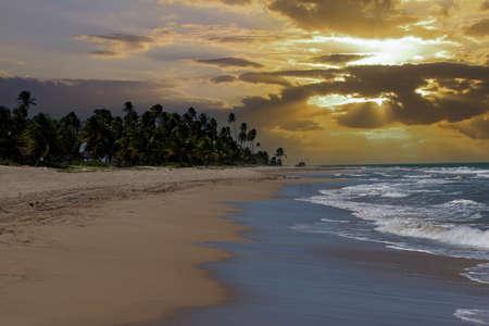 Sunset on the beach in Rio Grande, Puerto Rico