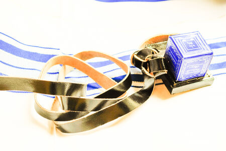 Judaism Tefillin phylacteries with Talit background