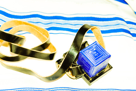 tefillin: Judaism Tefillin phylacteries with Talit background