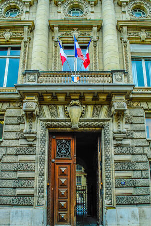 fled: French building entrance beautiful wood door in Paris