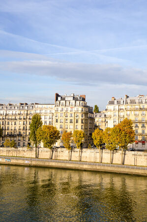 ile de la cite: River of Paris with the city skyline Stock Photo