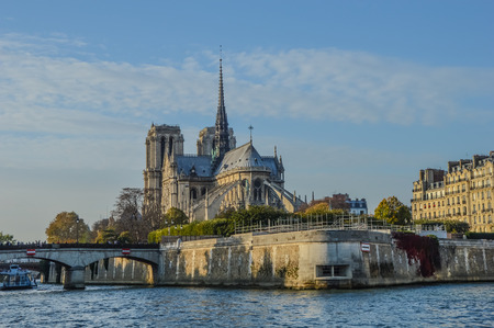 Notre Dame at the Siene river . Paris, France