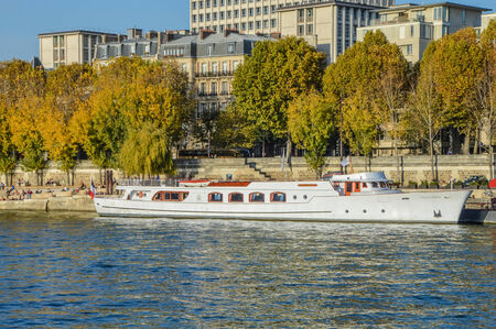 docking: Siene river of Paris with docking boats Editorial