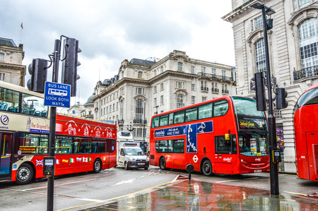 street in london with buses Editorial