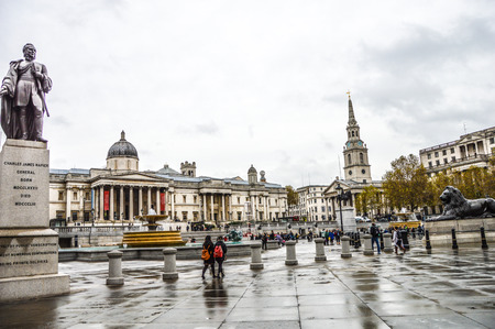 verticals: Trafalgar Square is a public space and tourist attraction in central London Landscape shot with tilt-shift lens maintaining verticals