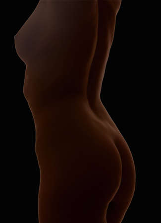 women torso isolated on black