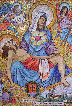 mosaic art from the annunciation curch in Nazareth, Israel photo