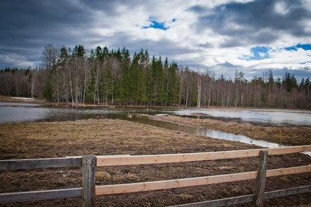 Wooden fence in the foreground Stock Photo - 9951696