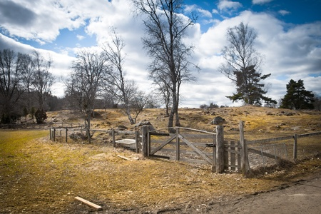Wooden gate on a field Stock Photo - 9951743