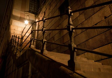notability: Stairs by night in Stockholm Stock Photo