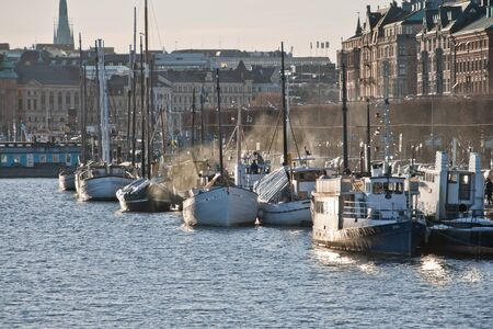 Boats lying on Strandv�gen in Stockholm, Sweden
