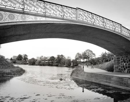 A bridge over a small river
