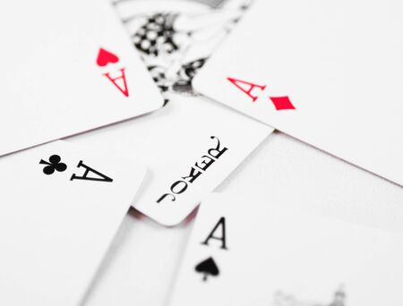 A macro of all the aces and a joker in the middle Stock Photo - 10470208
