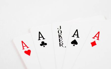 A macro of all the aces and a joker in the middle Stock Photo - 10470207