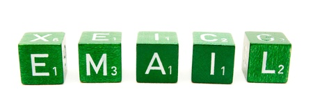 Five dices forming the word email on white background