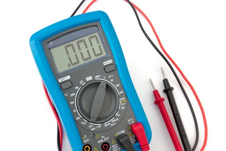 A blue digital multimeter with probes on white background