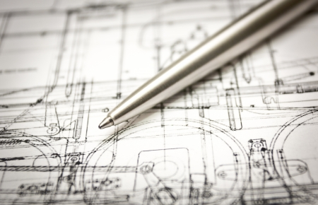 A pen lying on a drawing Stock Photo