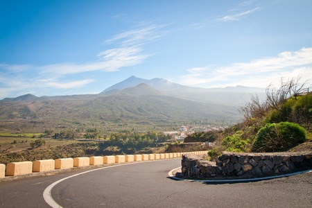 A road that leads to the El Teide on Tenerife, Spain photo