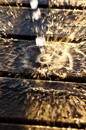 Water is splashing on a wooden surface