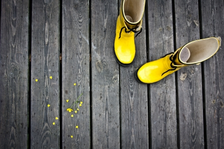 Two yellow boots with yellow flowers beside.