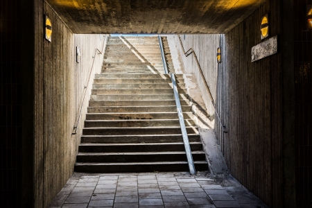 An underground staircase in Stockholm