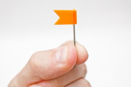 Hand holding a coloured mini flag