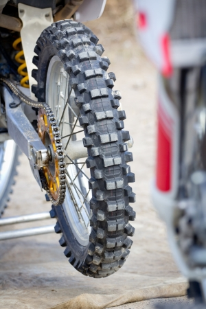 The backwheel on a motocross bike