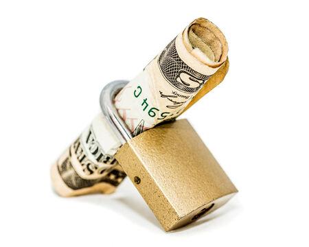 A padlock holding 10 dollar  locked up isolated on white background