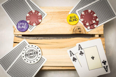 A pair of aces together with a dealer button on a wooden support