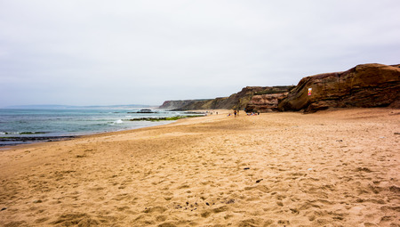 A beautiful beach with nice waves from the atlantic ocean in Baleal, Portugal