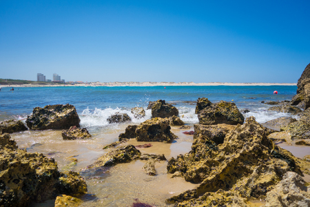 still water: A beautiful coastline with still water in Baleal, Portugal Stock Photo
