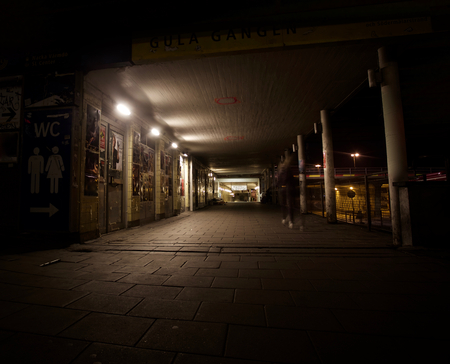 An empty street in stockhom during night