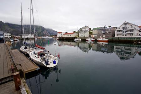View of the harbour of Henningsvaer in Lofoten, Norway