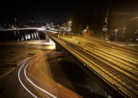 Long exposure night picture from an area called Slussen in Stockholm
