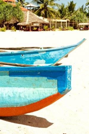 Edge of two wooden fishing boats on Sri Lanka Stock Photo