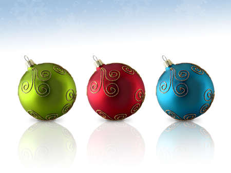 Colorful trio of glass Christmas ornaments; isolated with reflection Stock Photo