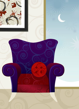 Whimsical Overstuffed Armchair Winters Evening. Easy-edit layered file. Illustration