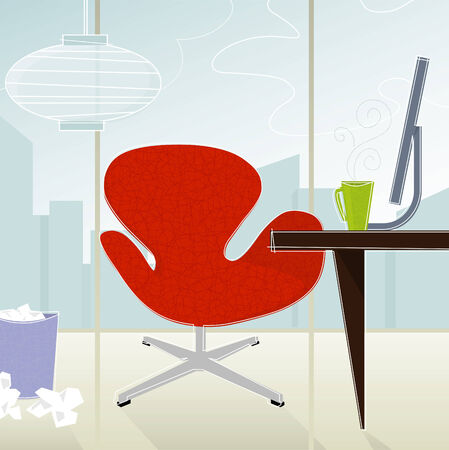 home office interior: Retro-modern business office—red chair against cityscape; colorful and stylized. Each item is whole and grouped so you can use them independently from the background. Easy-edit layered file.
