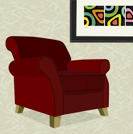 red couch: Estroso troppo comode poltrona con la pittura astratta. Presidente pu� essere utilizzato senza sfondo. Vettoriali