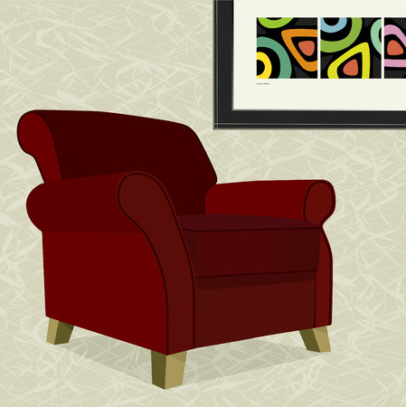 Whimsical comfy overstuffed armchair with abstract painting. Chair can be used without background. Illustration